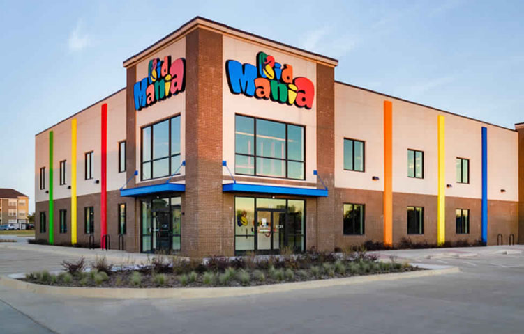 Exterior shot of Kid Mania building